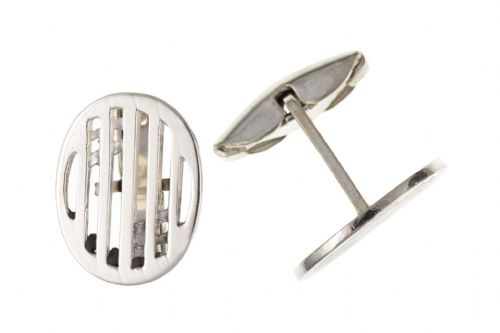 Sterling Silver Rennie Mackintosh Oval Cufflinks